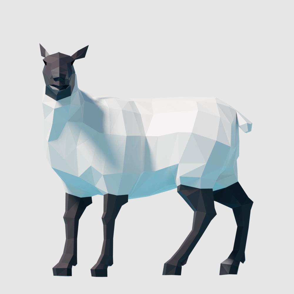 3D render sheep lowpoly model
