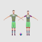 3D render football players lowpoly model