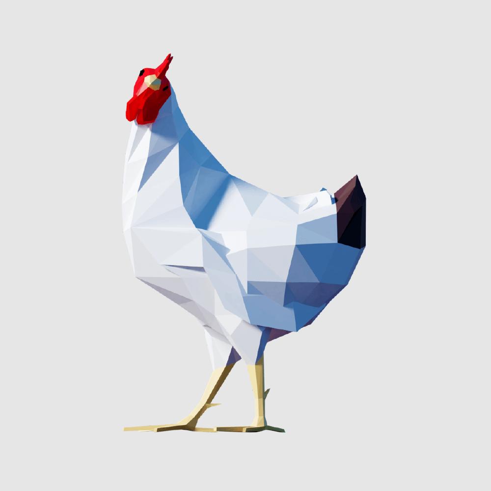3D render hen lowpoly model