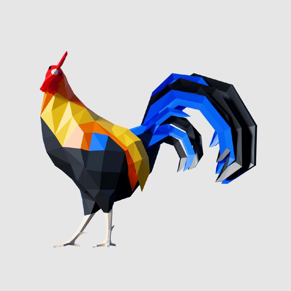 3D render rooster cock lowpoly model